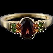 14K 1.65 CTW Garnet Citrine Peridot Bezel Set Ring Size 10.25 Yellow Gold