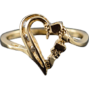 14K Heart Outline Nugget Ring Size 6.75 Yellow Gold