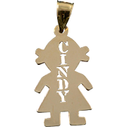 14K Cindy Girl Person Cut Out Word Name Child Charm/Pendant Yellow Gold