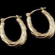14K 23mm Hollow Twist Tube U Hoop Earrings Yellow Gold
