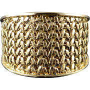 14K 16mm Tapered Woven Band Ring Size 8.75 Yellow Gold