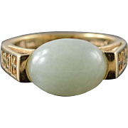 14K 12x9mm Green Jade Chinese Symbol Cut Out Ring Size 5 Yellow Gold