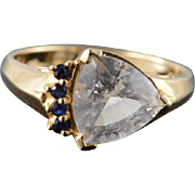 14K 3 CTW CZ & Sapphire Trilliant Ring Size 10 Yellow Gold