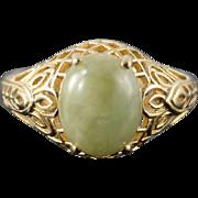 14K 11x9mm Cabochon Jade Green Filigree Ring Size 9 Yellow Gold