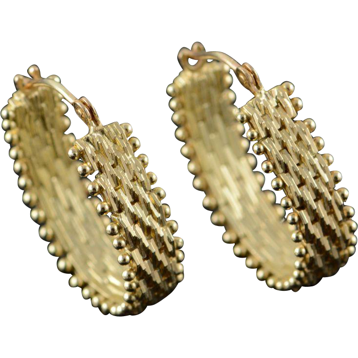 14K Fancy Link Hoop Earrings Yellow Gold from curiouscabinet on Ruby Lane