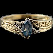 10K 0.34 CTW Blue Topaz Diamond Filigree Band Ring Size 9.75 Yellow Gold
