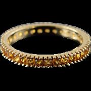 14K 1.00 CTW Citrine Infinity Eternity Wedding Band Ring Size 9 Yellow Gold