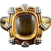 14K 3.00 CT Citrine Cabochon Fancy Hollow Ring Size 9 Yellow Gold