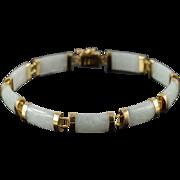 "14K Asian Light Green Jade Link Bracelet 7"" Yellow Gold"