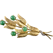18K 1940's 3.05 CTW Emerald Diamond Lily Flower Pin/Brooch Yellow Gold