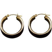 14K 20mm Thick Hollow Hoop Circle Earrings Yellow Gold