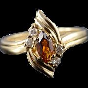 14K 0.38 CTW Citrine Diamond Ring Size 8 Yellow Gold