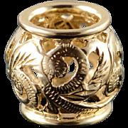 14K Filigree Fancy Scroll Bead Enhancer Charm/Pendant Yellow Gold