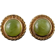 14K 1970's 14mm Green Jade Cuff Links Yellow Gold