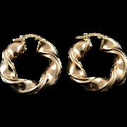 14K 35mm Hollow Hoop Twist Circle Earrings Yellow Gold