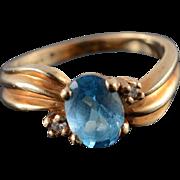 10K 1.00 CTW Blue Topaz Diamond Ring Size 6 Yellow Gold