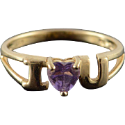 10K I Heart Love U You 0.33 CT Amethyst Ring Size 7 Yellow Gold