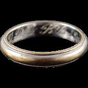 14K 1940's 3.5mm Milgrain Wedding Band Ring Size 6 White Gold