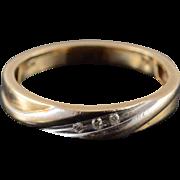 10K Genuine Diamond Inset Wedding Band Ring Size 6.75 Yellow Gold