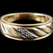 10K Genuine Diamond Inset Wedding Band Ring Size 8.5 Yellow Gold