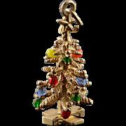 14K Colorful Beads Ornament Christmas Tree Charm/Pendant Yellow Gold