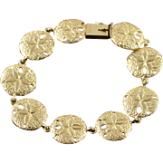 "14K Heavy Sand Dollar Sea Shell Ocean Beach Link Bracelet 7.25"" Yellow Gold"
