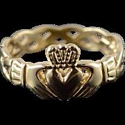 9K Irish Claddagh Celtic Weave Promise Band Ring Size 4.25 Yellow Gold