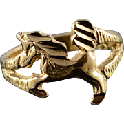 14K Unicorn Horse Cut Out Children's Baby Kid's Newborn Ring Size 0 Yellow Gold