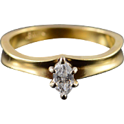 18K 0.25 CT Marquise Solitaire Diamond Engagement Ring Size 6.25 Yellow Gold