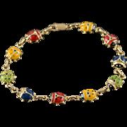 "14K Multi Colored Enamel Lady Bug Puffy Link Bracelet 7"" Yellow Gold"