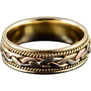 14K Heavy 7.1mm Woven Rope Tri Color Wedding Band Men's Ring Size 9.75 Yellow Gold
