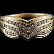 14K 0.50 CTW Diamond Chevron Weave Ring Size 8.5 Yellow Gold