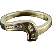 14K 0.25 CTW Diamond Baguette Weave Ring Size 6.25 Yellow Gold