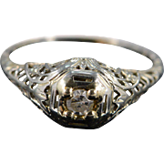 Art Deco 18K 0.14 Ct Diamond Filigree Engagement Ring Size 6.75 White Gold