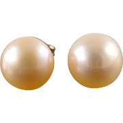 14K 8mm Pearl Stud Earrings Yellow Gold