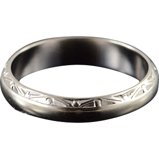 14K 4.8mm Fancy Engraved Wedding Band Ring Size 10 White Gold