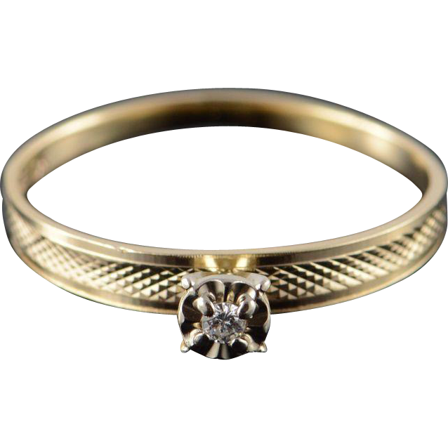 10K Genuine Diamond Inset Engagement Ring Size 11 5 Yellow Gold from curiousc