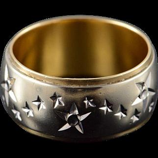 14K 9.5mm Starburst Two Tone Wedding Band Ring Size 8 Yellow/White Gold