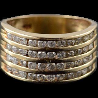 14K 1.00 CTW Diamond 4 Row Inset Band Ring Size 5.25 Yellow Gold