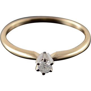 10K 0.08 CT Round Diamond Solitaire Engagement Ring Size 5.25 Yellow Gold