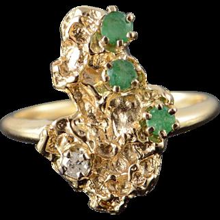 14K 0.33 CTW Emerald Diamond Nugget Band Ring Size 7.25 Yellow Gold