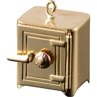 14K Retro 3D Articulated Safe Door Opens! Folded $1.00 Bill Charm/Pendant Yellow Gold