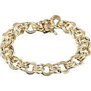 "14K Heavy 11mm Large Link Charm Vintage Bracelet 7.25"" Yellow Gold"