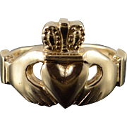 14K Claddagh Love Heart Irish Wedding Band Ring Size 7 Yellow Gold