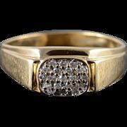 14K Men's 0.10 CTW Diamond Cluster Ring Size 11.25 Yellow Gold