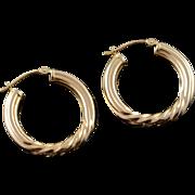 14K 25mm Hollow Hoop Twist Circle Earrings Yellow Gold