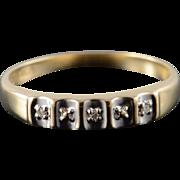 10K Retro Genuine Diamond Two Tone Wedding Band Ring Size 7.75 Yellow Gold