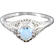 Art Deco 18K 5mm Cabochon Opal Filigree Engagement Ring Size 4.75 White Gold