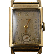 10K Gold Filled Vintage Bulova 32x22mm Square Mechanical Wrist Watch