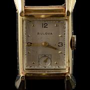 14K Bulova Vintage 40x20mm Square Mechanical Wrist Watch  Yellow Gold